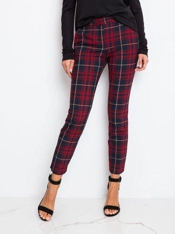 Czerwono-granatowe spodnie Checked