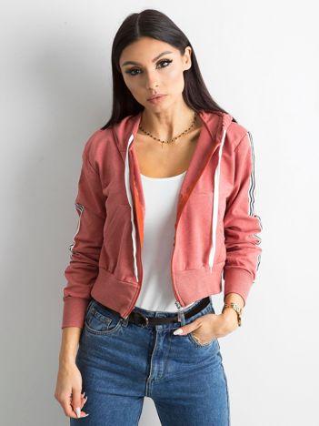 Czerwono-różowa bawełniana bluza z lampasami