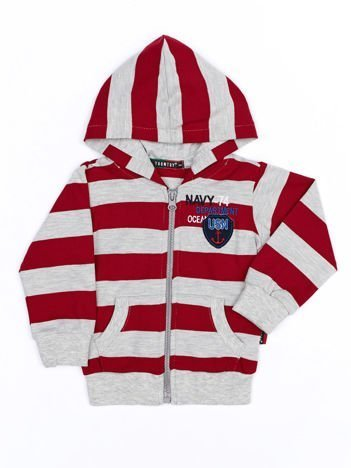 Czerwono-szara bawełniana bluza dziecięca w paski z kapturem