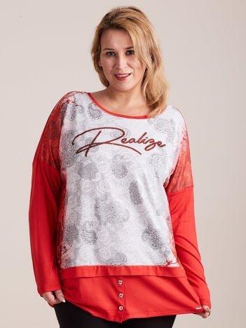 Czerwono-szara bluzka z koronkowym nadrukiem PLUS SIZE