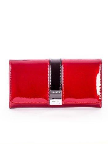 Czerwony lakierowany portfel skórzany z kolorowym modułem