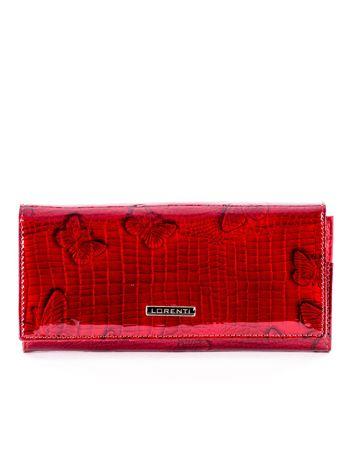 Czerwony lakierowany portfel ze skóry w motyle