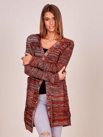 Czerwony melanżowy sweter z wiązaniem