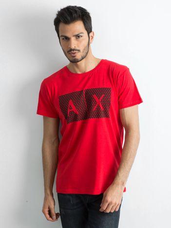 Czerwony męski t-shirt z nadrukiem