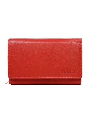 Czerwony portfel skórzany z zapięciem