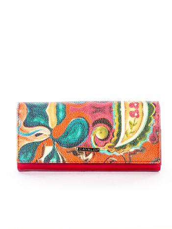 Czerwony portfel z tłoczonym malarskim deseniem