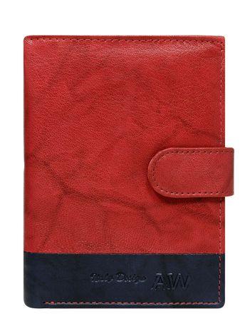 Czerwony portfel z zapięciem na napę