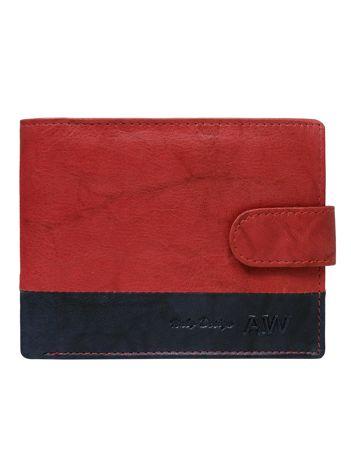 Czerwony portfel ze skóry naturalnej z zapięciem