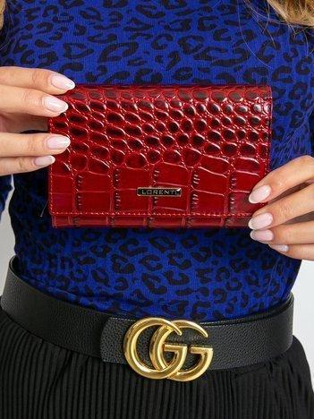 Czerwony portfel ze skóry z motywem zwierzęcym