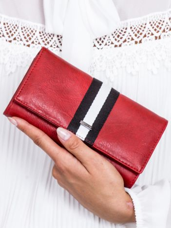 Czerwony skórzany portfel z modułem w paski