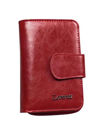 Czerwony skórzany portfel z suwakiem