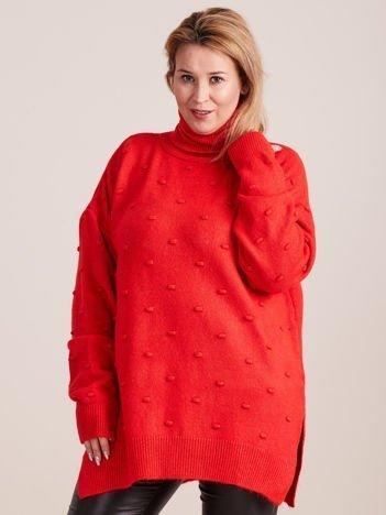 Czerwony sweter z golfem PLUS SIZE