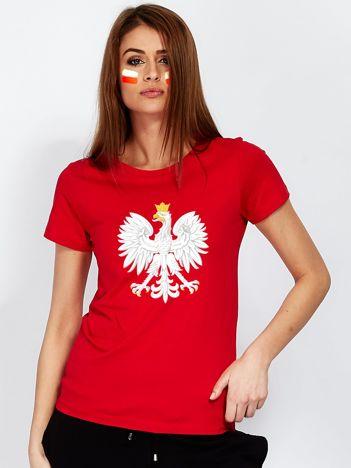 Czerwony t-shirt damski z godłem