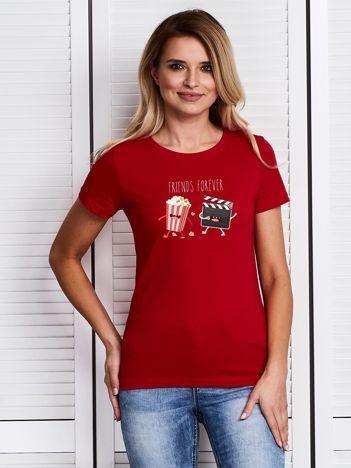 Czerwony t-shirt damski z kinowym nadrukiem popcornu