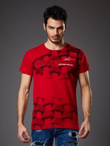 Czerwony t-shirt męski z futurystycznym nadrukiem