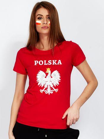 Czerwony t-shirt z godłem