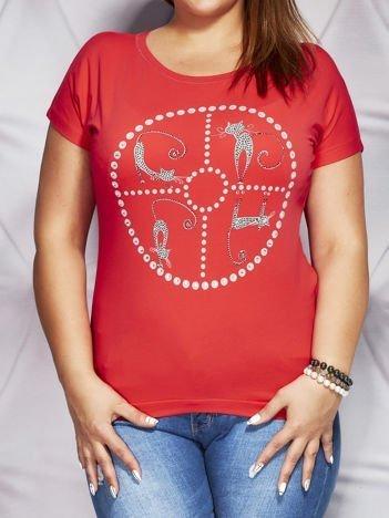 Czerwony t-shirt z motywem kotów PLUS SIZE