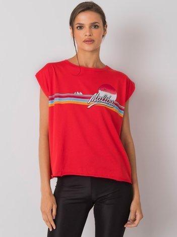 Czerwony t-shirt z nadrukiem Malibu