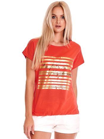Czerwony t-shirt ze złotym printem