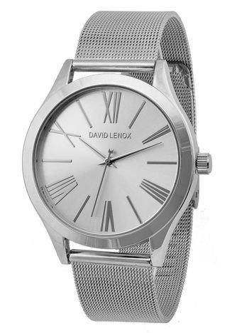 DAVID LENOX Zegarek damski srebrny na bransolecie typu MESH Eleganckie pudełko prezentowe w komplecie
