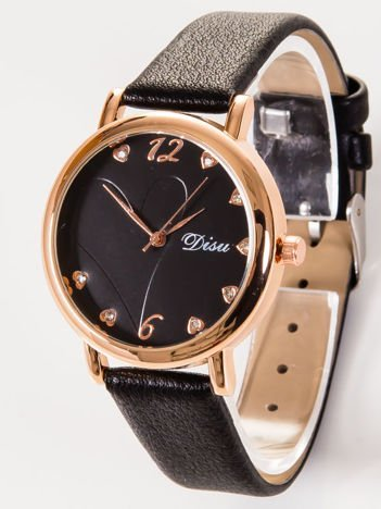 DISU LOVE Elegancki czarny zegarek damski z sercami