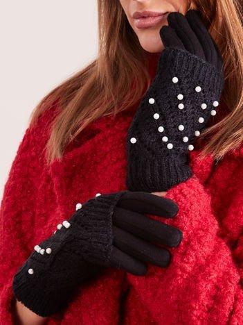 DOTYKOWE Czarne Rękawiczki MITENKI Zdobione Perłami
