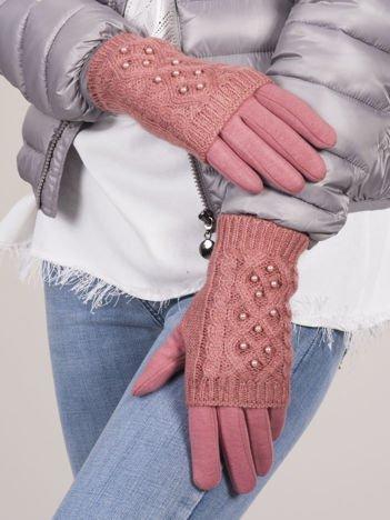 DOTYKOWE Różowe Rękawiczki MITENKI Zdobione Perłami
