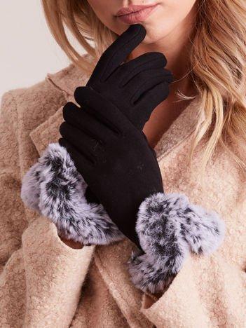 DOTYKOWE Wyjątkowo Ciepłe Czarne Rękawiczki z Futerkiem