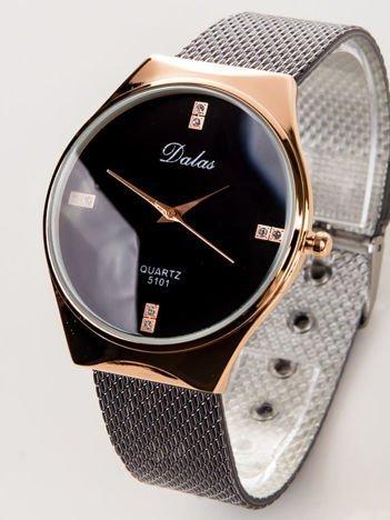 Dalas czarny damski zegarek z cyrkoniami na tarczy na bransolecie mesh
