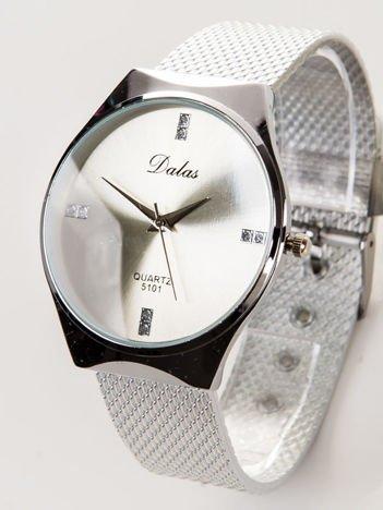 Dalas srebrny damski zegarek z cyrkoniami na tarczy na bransolecie mesh