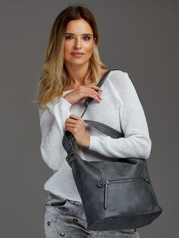 Damska torba shopper z ozdobnymi suwakami szara
