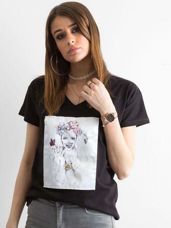Damski t-shirt czarny