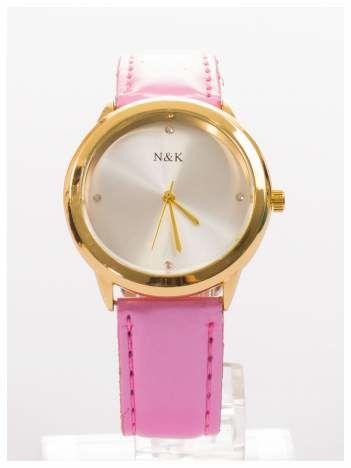 Damski zegarek na perłowym skórzanym pasku. Bardzo zgrabny. Delikatny i kobiecy.