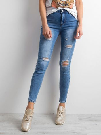 Damskie jeansy trashed niebieskie