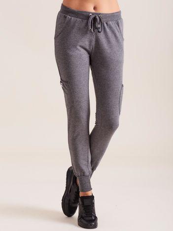 Damskie spodnie dresowe ze ściągaczami ciemnoszare