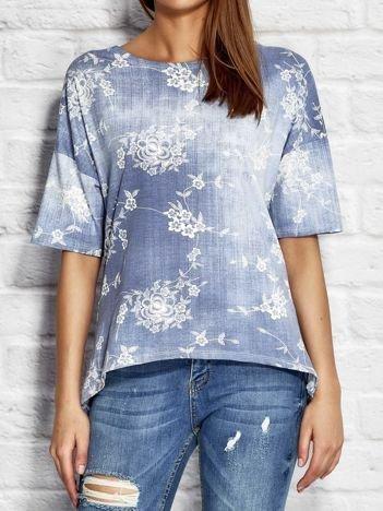 Denimowa bluzka w kwiaty niebieska