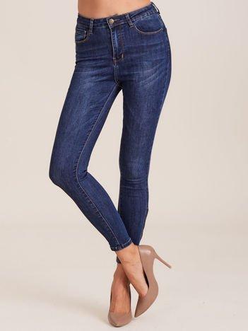 Denimowe spodnie z wysokim stanem niebieskie