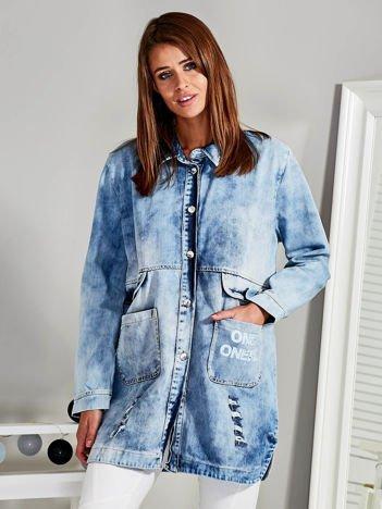 Długa jeansowa kurtka oversize z przetarciami niebieska