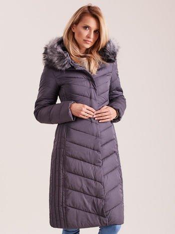 Długa kurtka zimowa z kapturem ciemnoszara