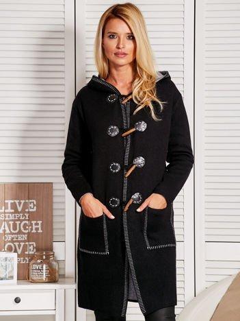 Długi gładki sweter na kołki z kapturem czarno-szary