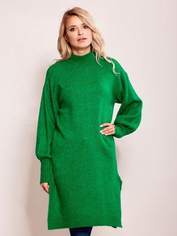 Długi sweter damski z szerokimi ściągaczami zielony