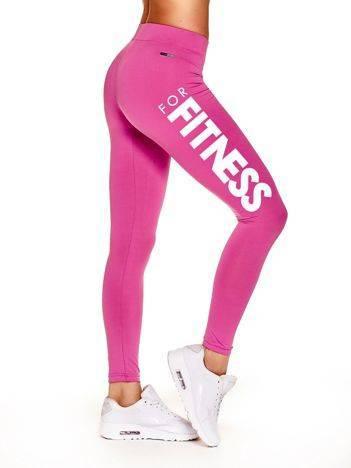 Długie cienkie legginsy na siłownię z nadrukiem sportowym ciemnoróżowe