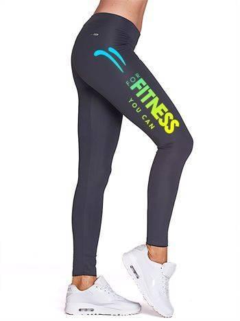 Długie legginsy do biegania z kolorowym nadrukiem grafitowe