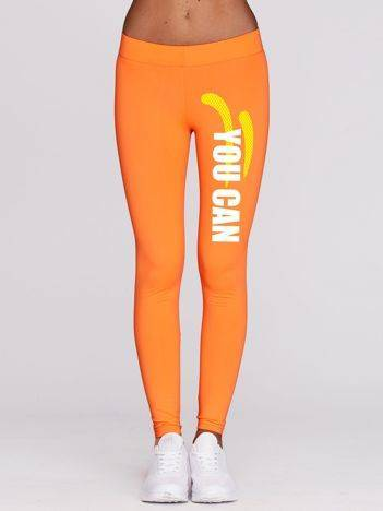 Długie legginsy do biegania z printem fluo pomarańczowe