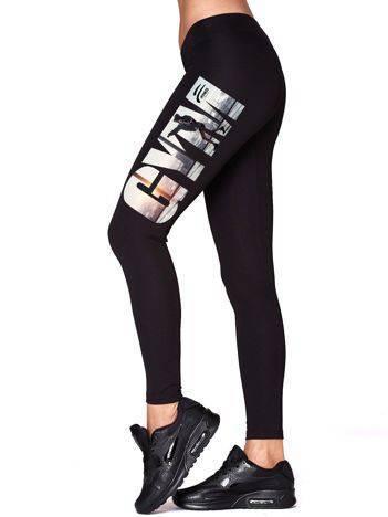 Długie legginsy do ćwiczeń z nadrukiem GYM czarne