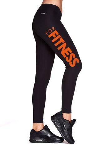 Długie legginsy fitness z barwnym nadrukiem czarne