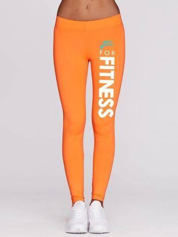 Długie legginsy fitness z nadrukiem FITNESS fluo pomarańczowe