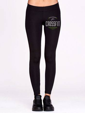 Długie legginsy na fitness z printem czarne