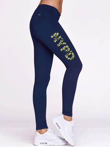 Długie legginsy na siłownię z moro napisem NYPD granatowe