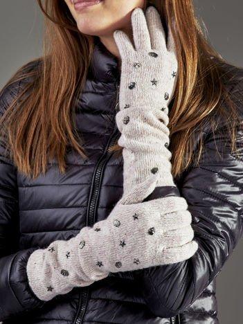 Długie rękawiczki z ćwiekami z domieszką wełny beżowe
